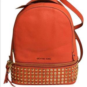 Michael Kors Medium Rhea Backpack in Orange